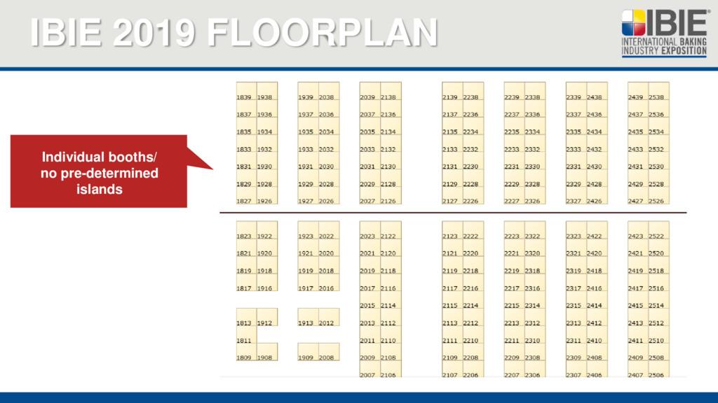 IBIE 2019 FLOORPLAN Individual booths/ no pre-d...