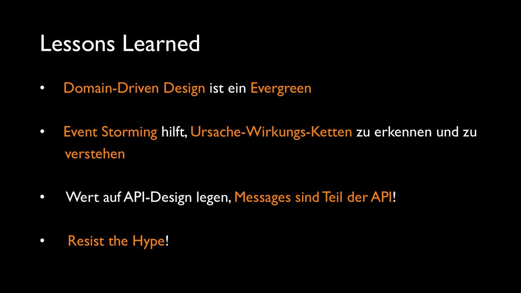 Lessons Learned • Domain-Driven Design ist ein ...