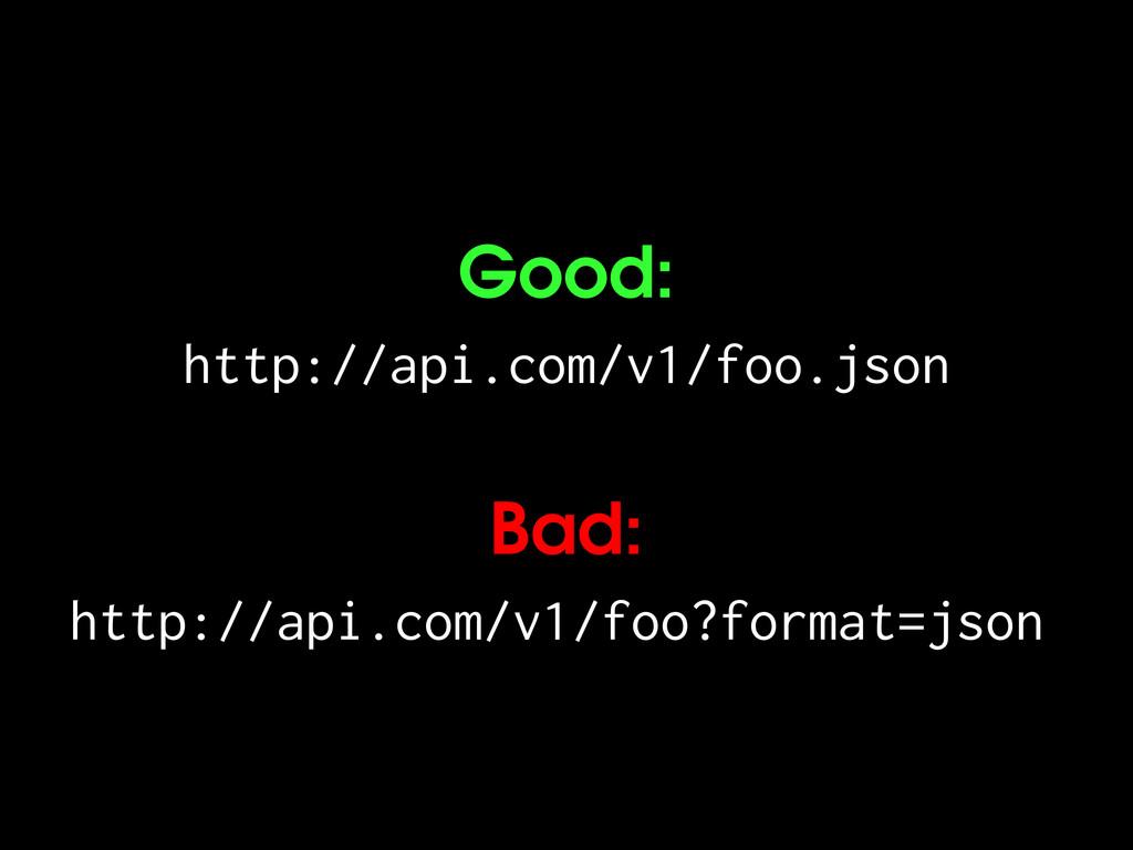 Good: http://api.com/v1/foo.json Bad: http://ap...