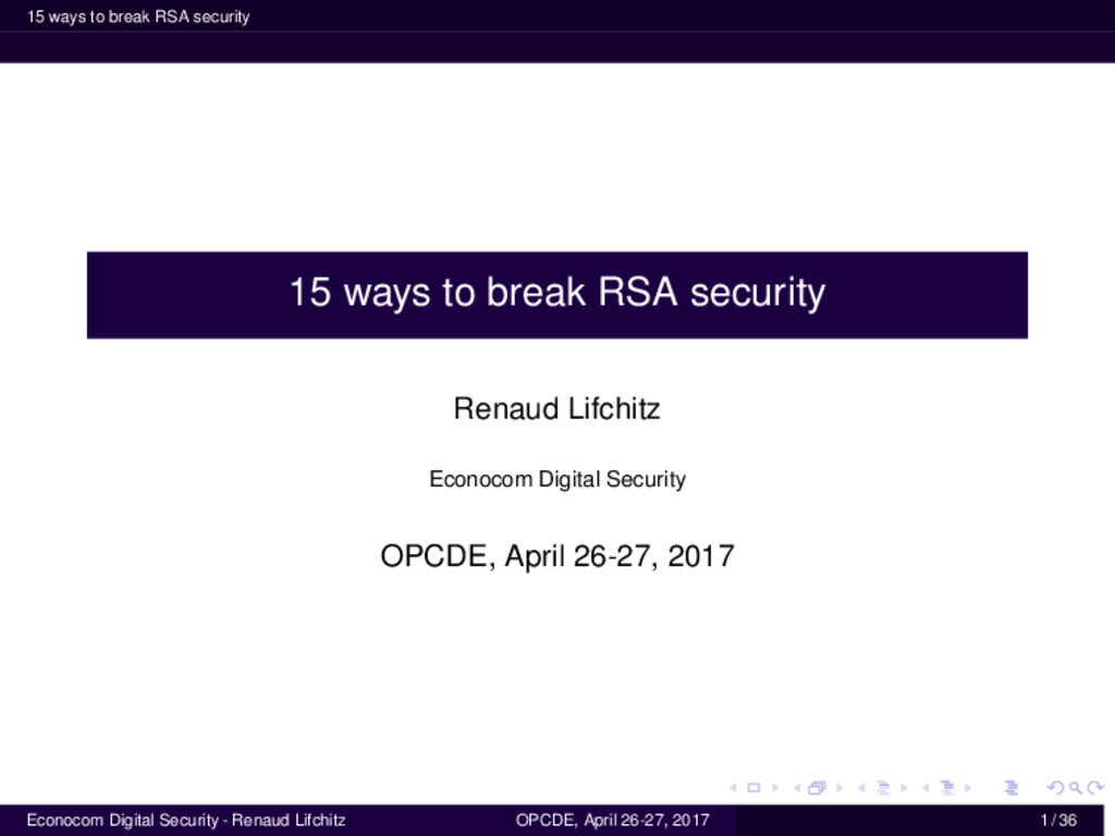 15 ways to break RSA security 15 ways to break ...
