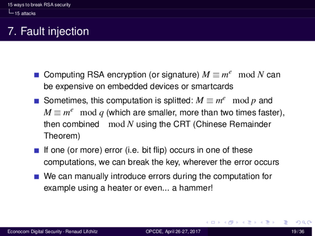 15 ways to break RSA security 15 attacks 7. Fau...