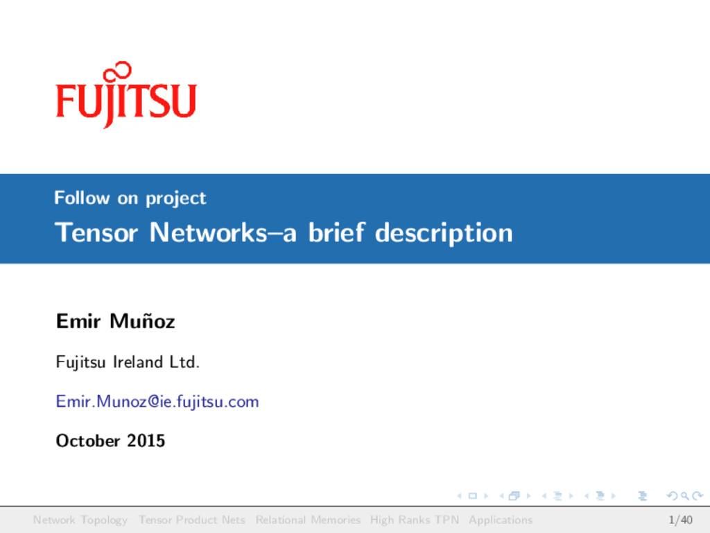Follow on project Tensor Networks–a brief descr...