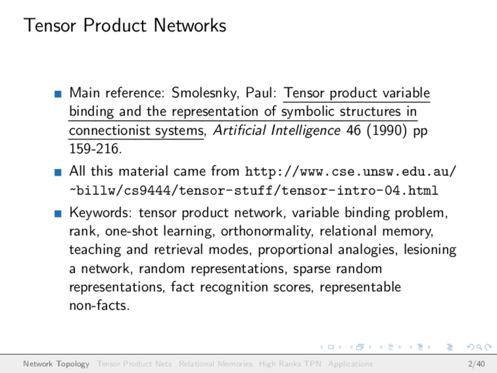 Tensor Product Networks Main reference: Smolesn...