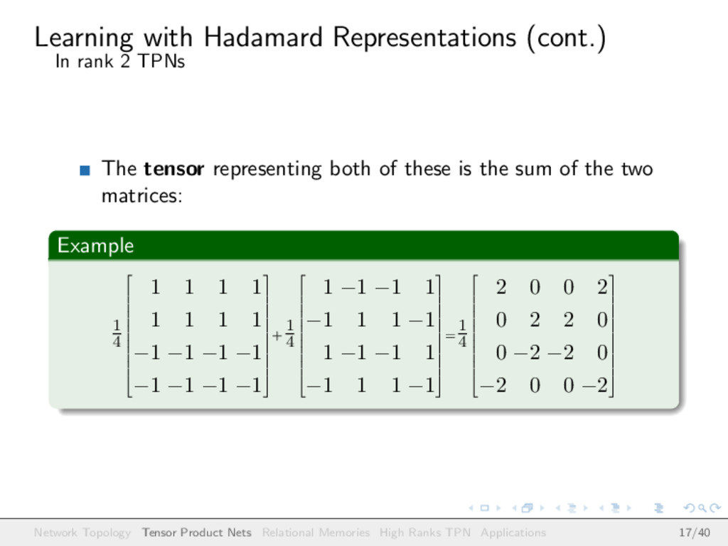 Learning with Hadamard Representations (cont.) ...