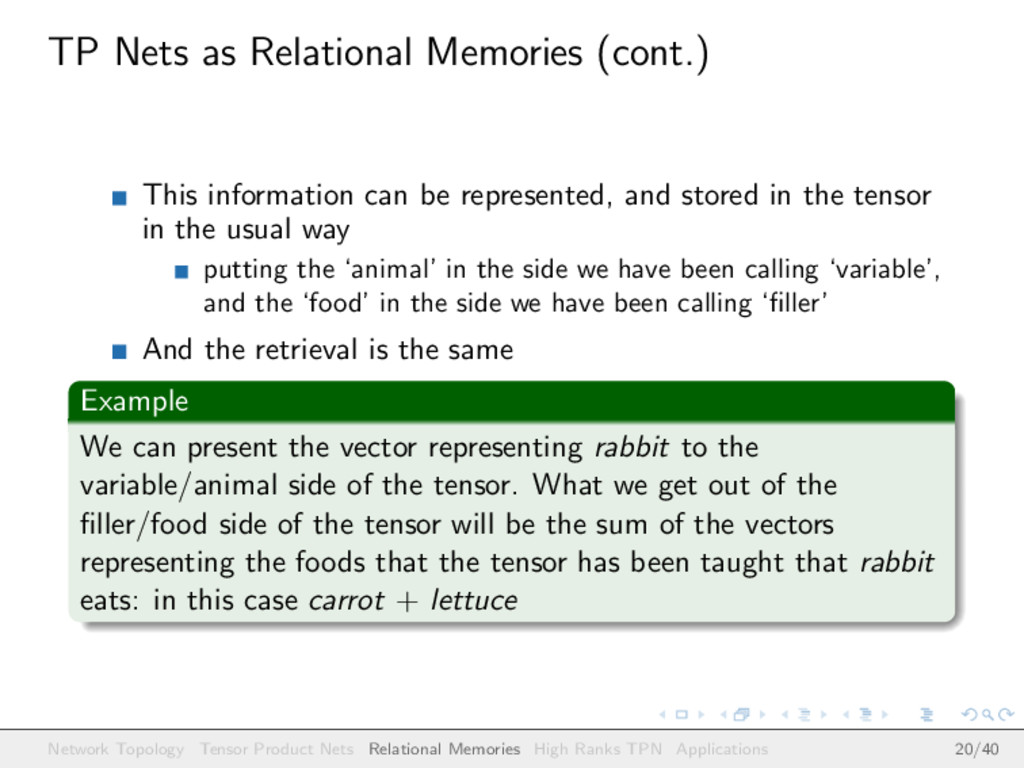 TP Nets as Relational Memories (cont.) This inf...