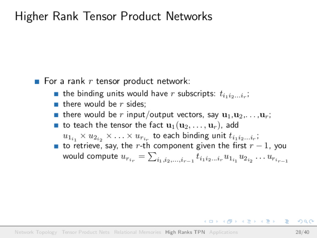 Higher Rank Tensor Product Networks For a rank ...