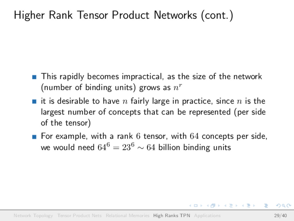 Higher Rank Tensor Product Networks (cont.) Thi...