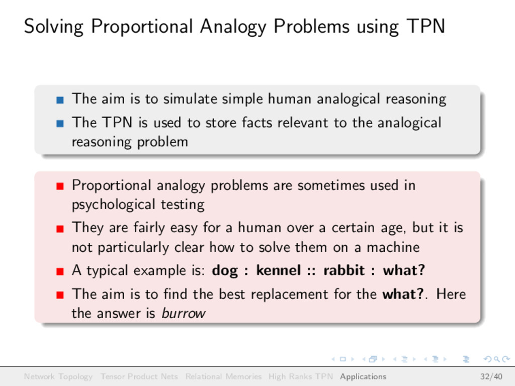 Solving Proportional Analogy Problems using TPN...