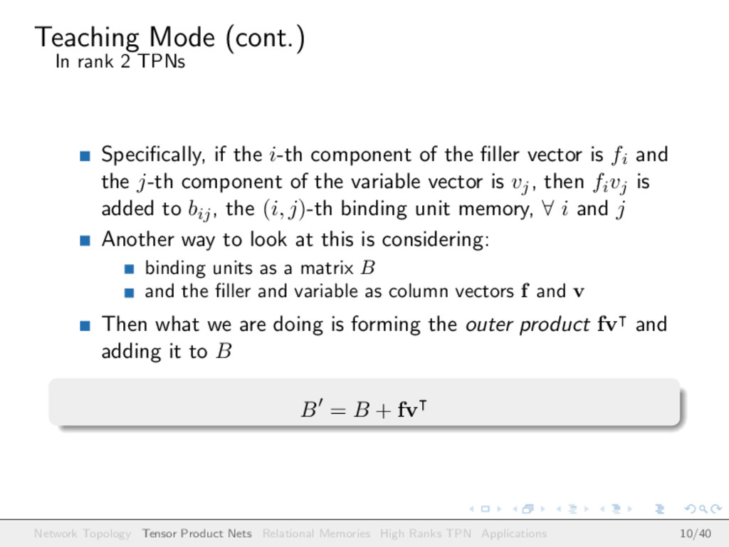 Teaching Mode (cont.) In rank 2 TPNs Specificall...