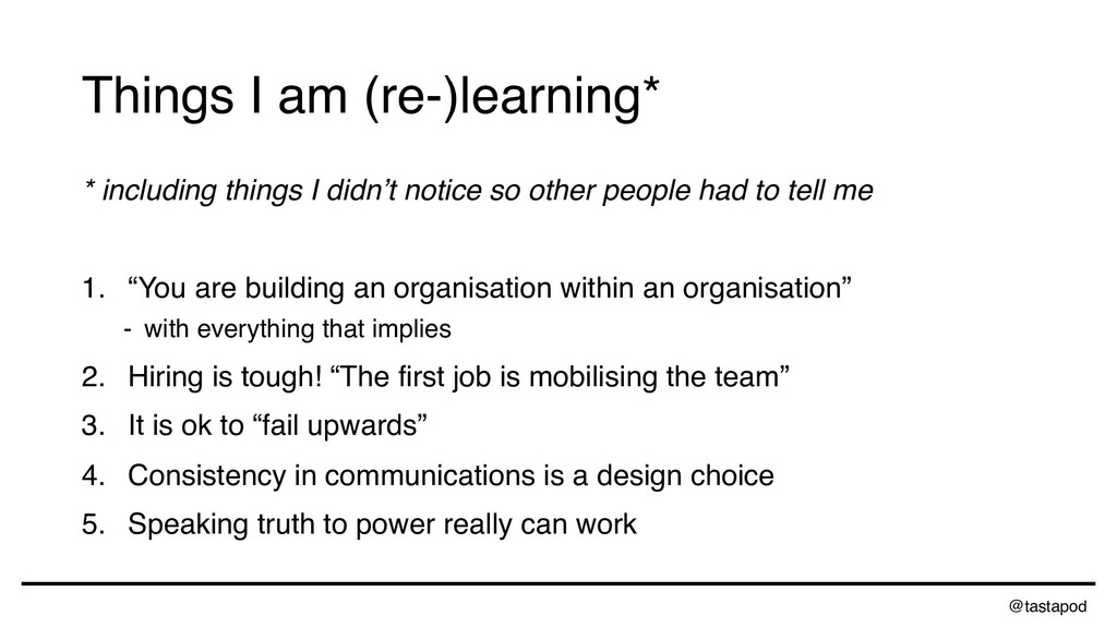 @tastapod Things I am (re-)learning* * includin...