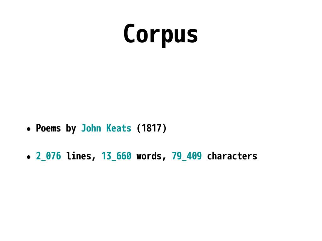 Corpus • Poems by John Keats (1817) • 2_076 lin...