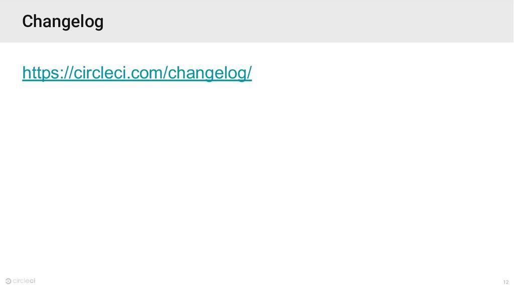 12 Changelog https://circleci.com/changelog/