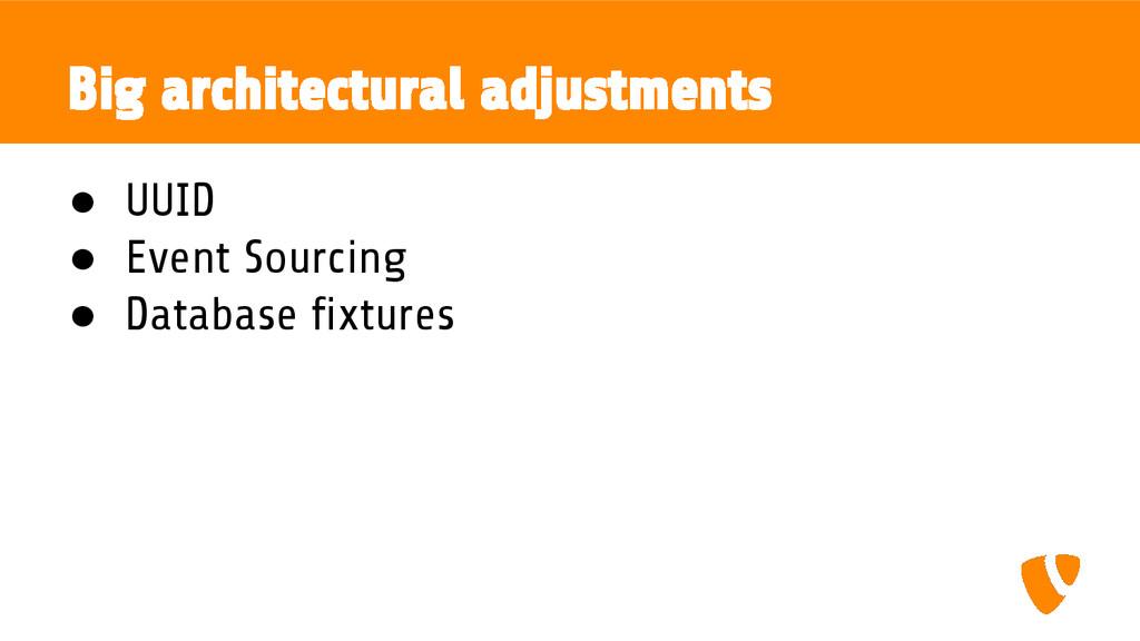 Big architectural adjustments ● UUID ● Event So...