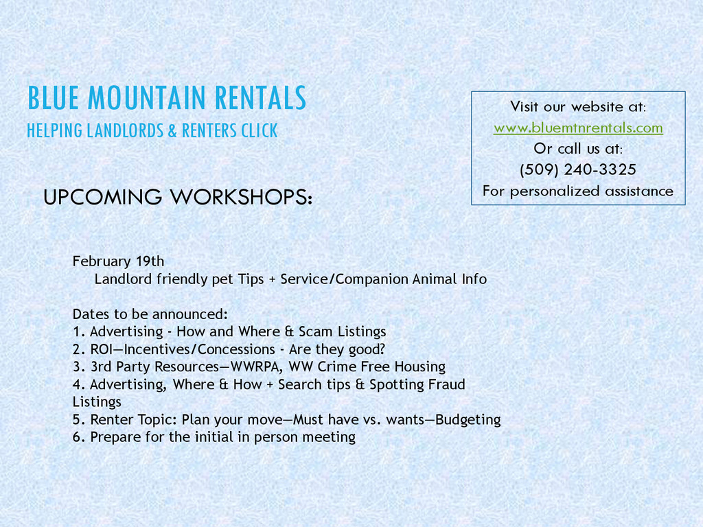 BLUE MOUNTAIN RENTALS HELPING LANDLORDS & RENTE...