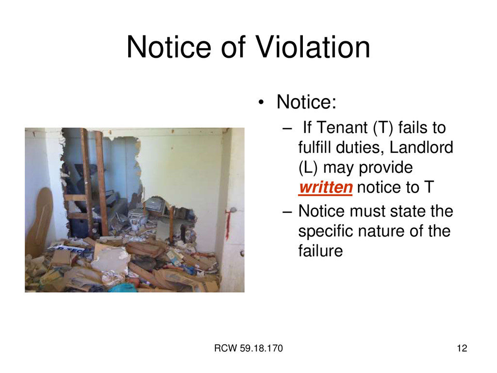 RCW 59.18.170 12 Notice of Violation • Notice: ...