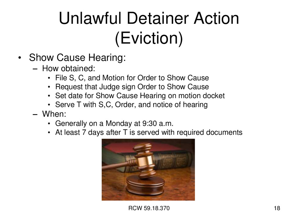 RCW 59.18.370 18 Unlawful Detainer Action (Evic...