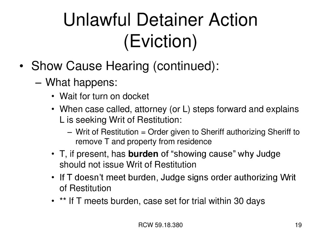 RCW 59.18.380 19 Unlawful Detainer Action (Evic...