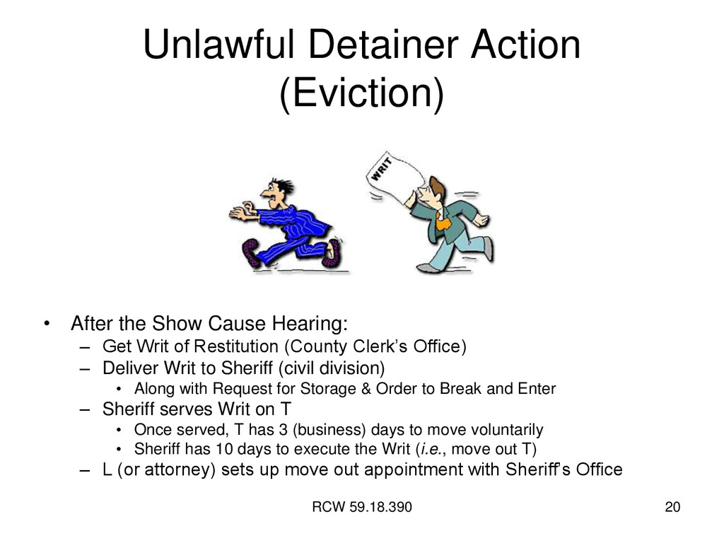 RCW 59.18.390 20 Unlawful Detainer Action (Evic...