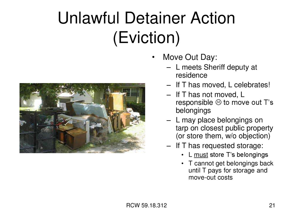 RCW 59.18.312 21 Unlawful Detainer Action (Evic...