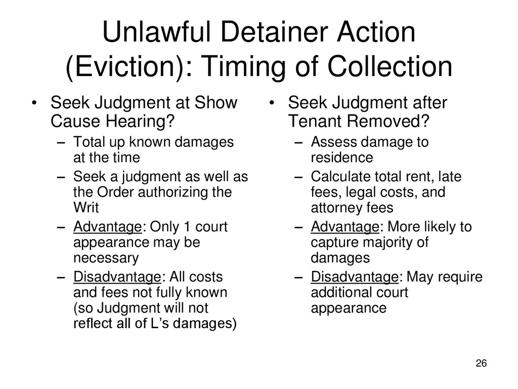 26 Unlawful Detainer Action (Eviction): Timing ...