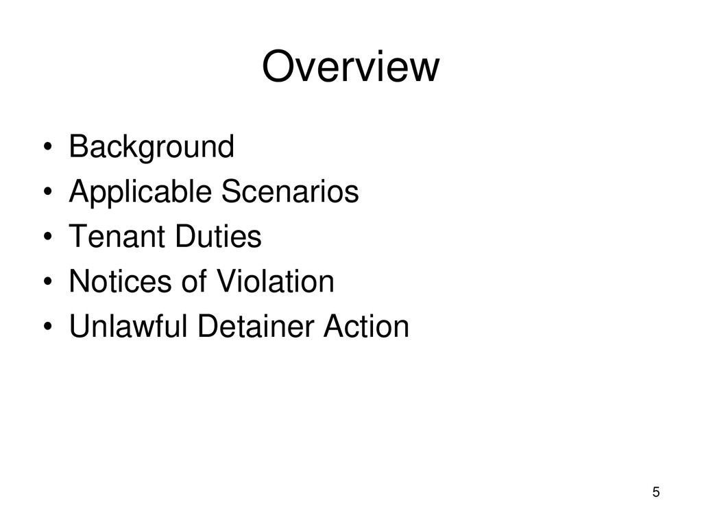 5 Overview • Background • Applicable Scenarios ...