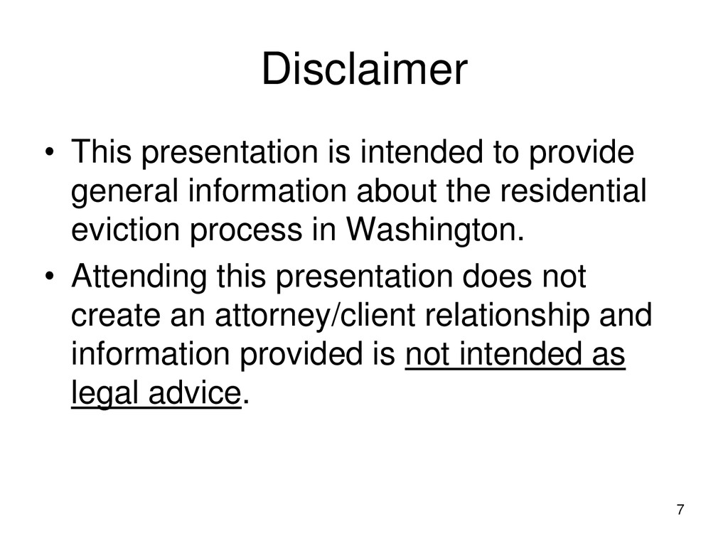 7 Disclaimer • This presentation is intended to...