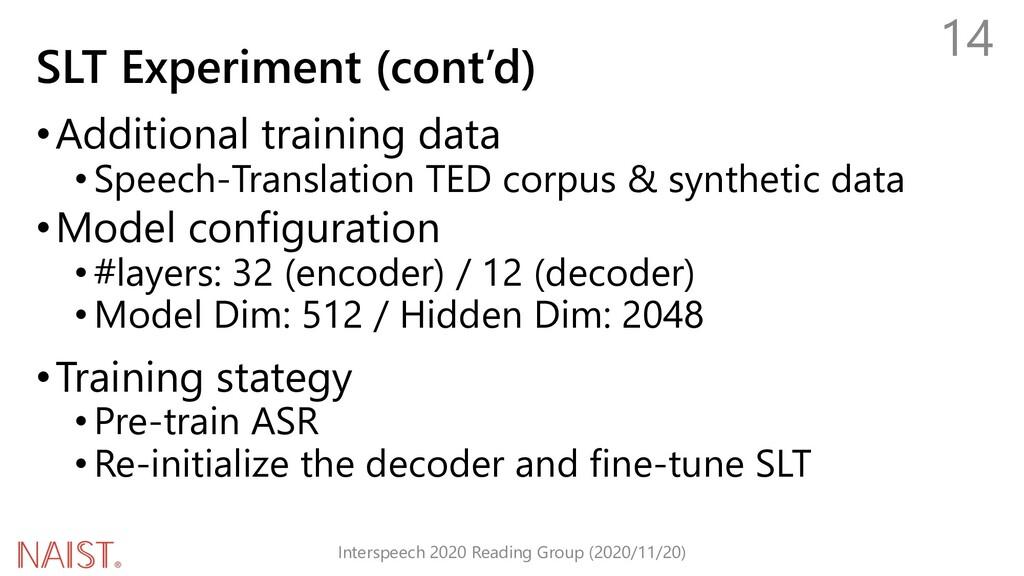 SLT Experiment (cont'd) •Additional training da...
