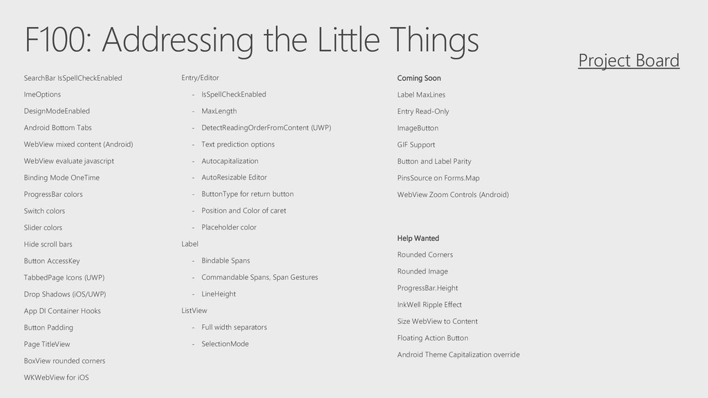 F100: Addressing the Little Things SearchBar Is...