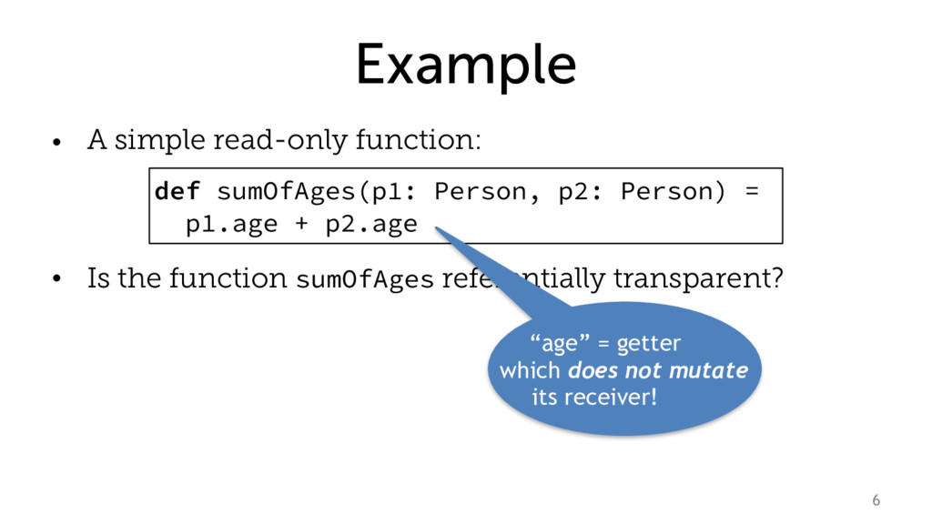 Example • A simple read-only function: • Is the...