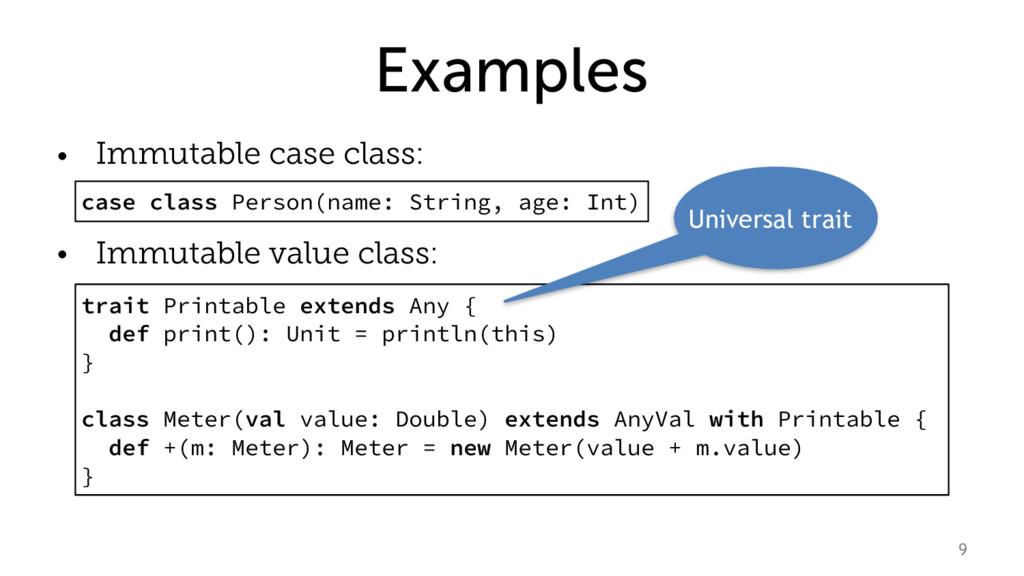 Examples • Immutable case class: • Immutable va...