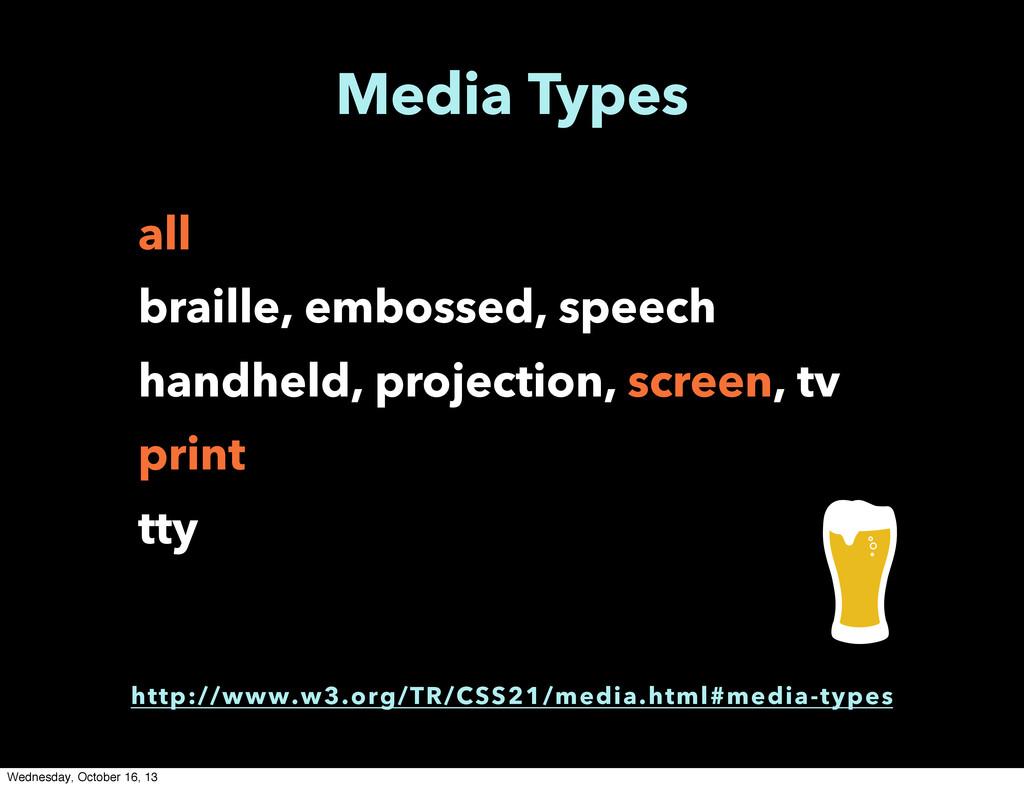 Media Types all braille, embossed, speech handh...
