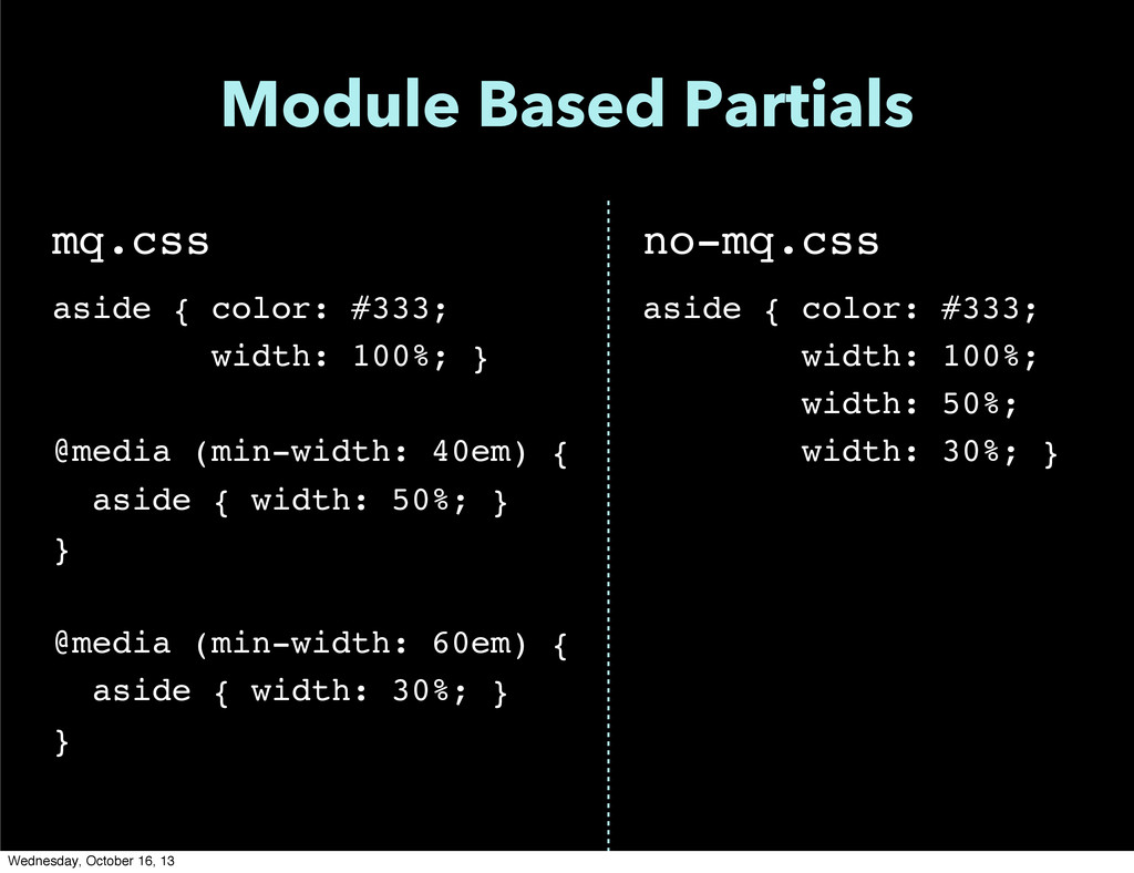 Module Based Partials mq.css aside { color: #33...
