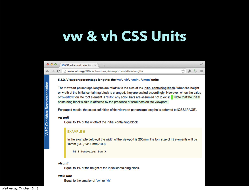 vw & vh CSS Units Wednesday, October 16, 13