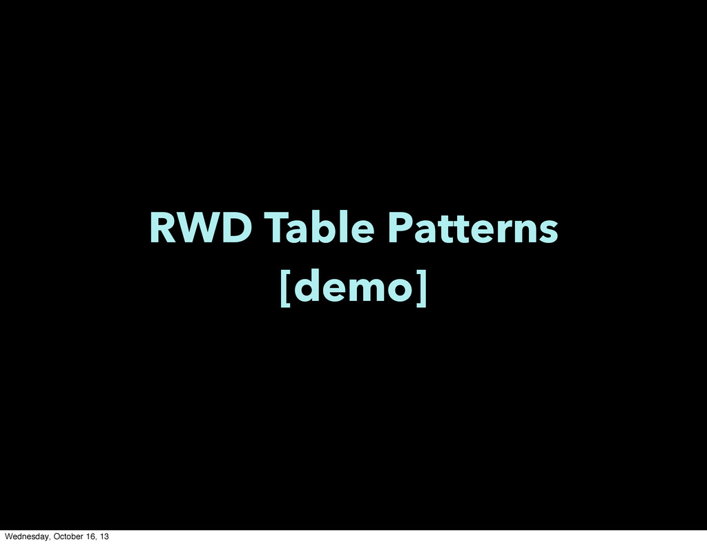 RWD Table Patterns [demo] Wednesday, October 16...