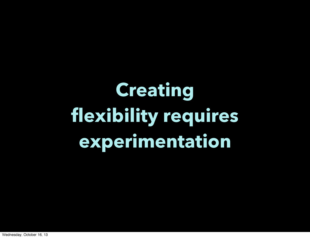 Creating flexibility requires experimentation W...