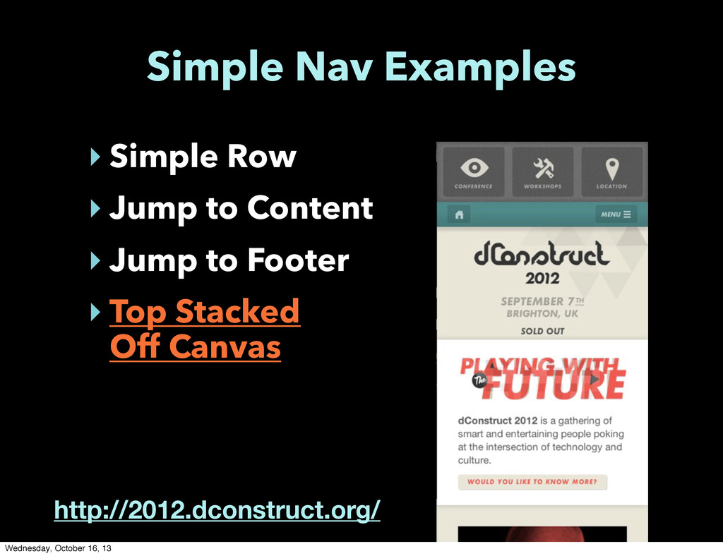 Simple Nav Examples ‣ Simple Row ‣ Jump to Cont...