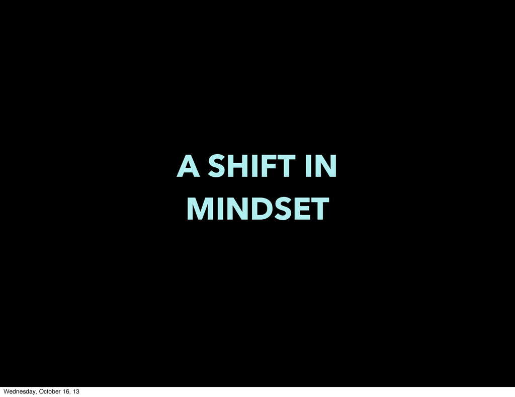 A SHIFT IN MINDSET Wednesday, October 16, 13