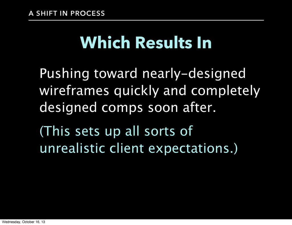 A SHIFT IN PROCESS Which Results In Pushing tow...