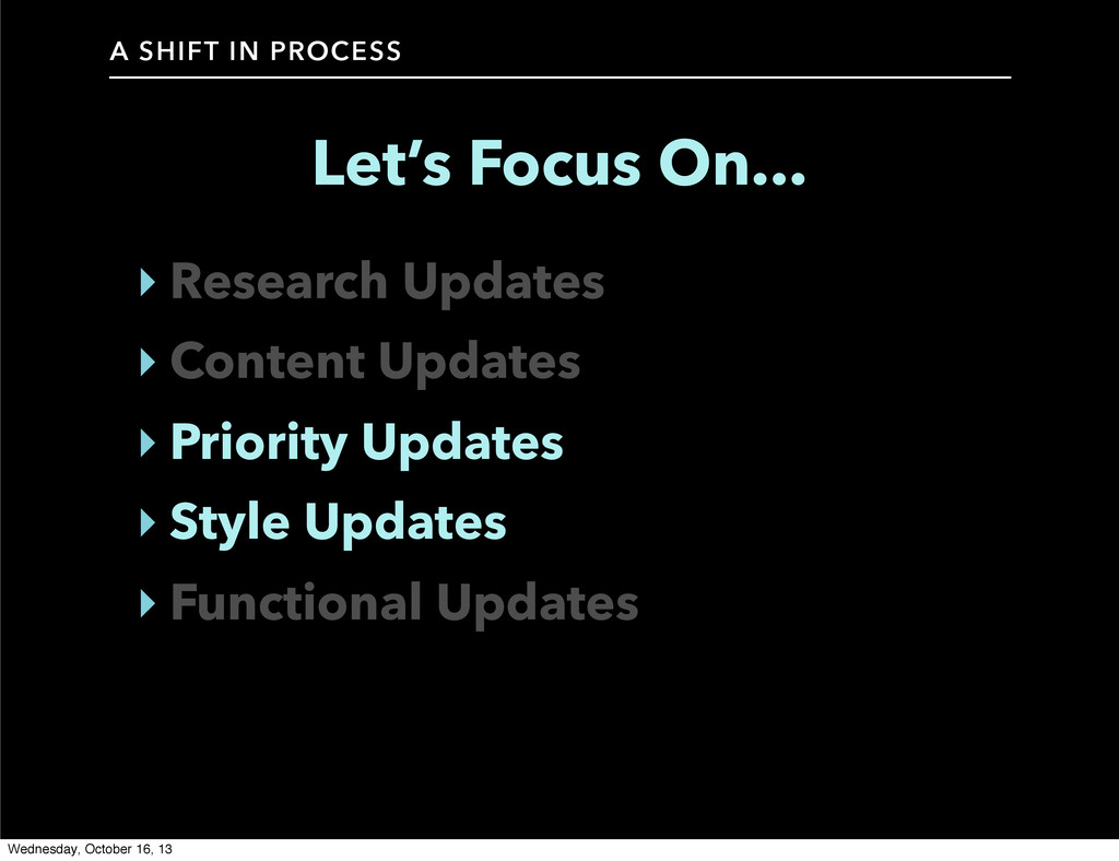 A SHIFT IN PROCESS Let's Focus On... ‣ Research...