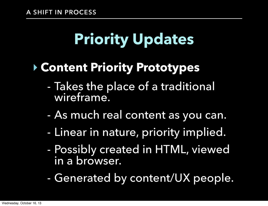 A SHIFT IN PROCESS Priority Updates ‣ Content P...