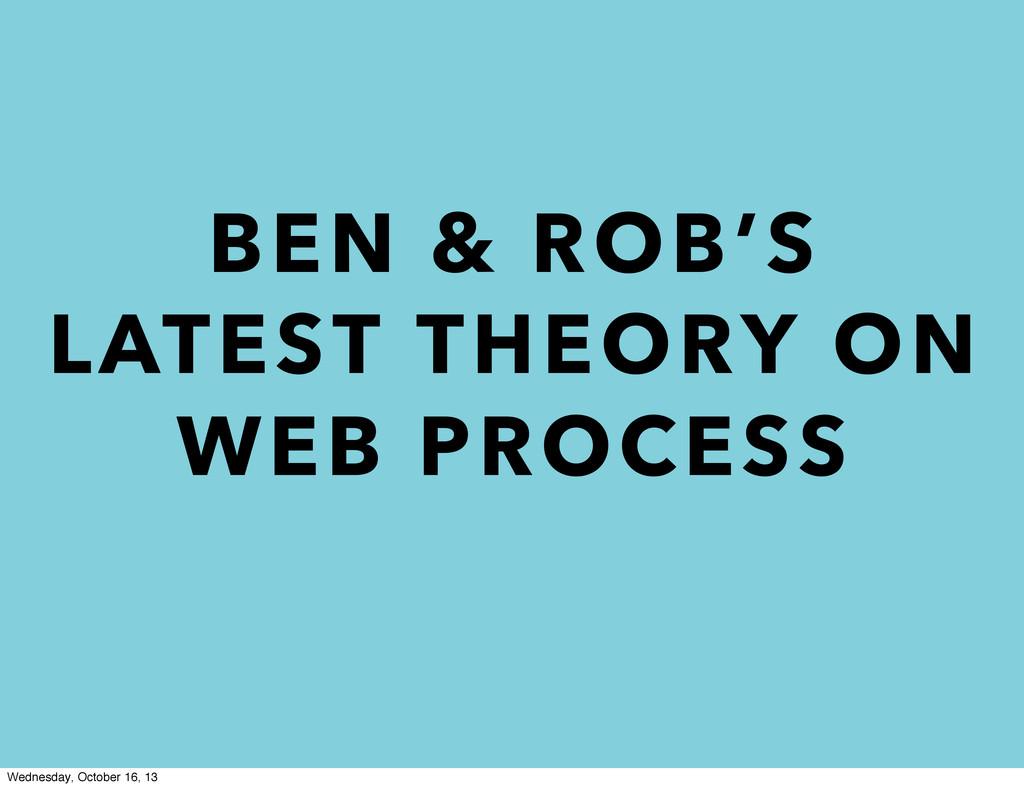 BEN & ROB'S LATEST THEORY ON WEB PROCESS Wednes...