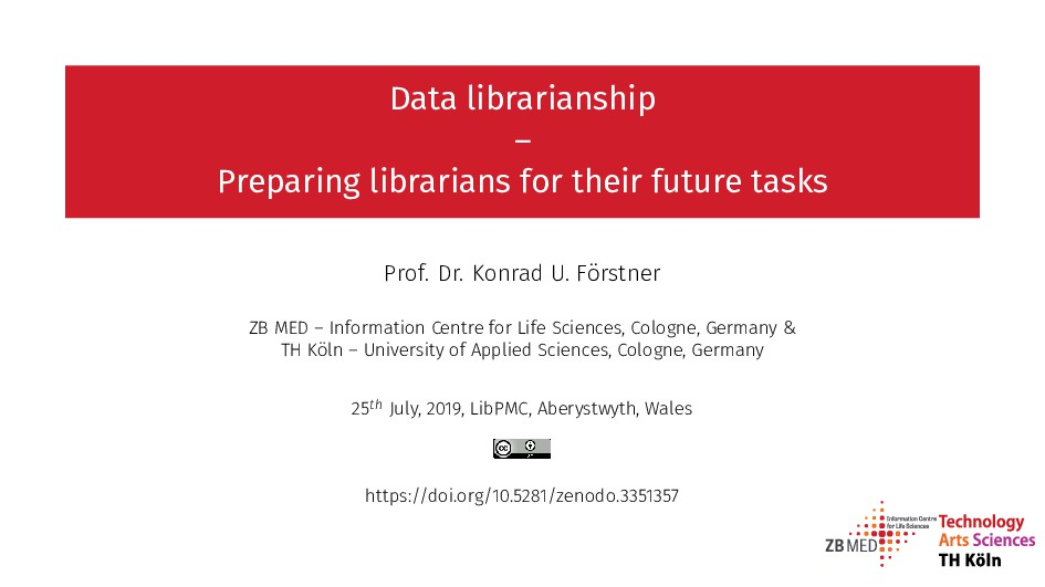Data librarianship – Preparing librarians for t...