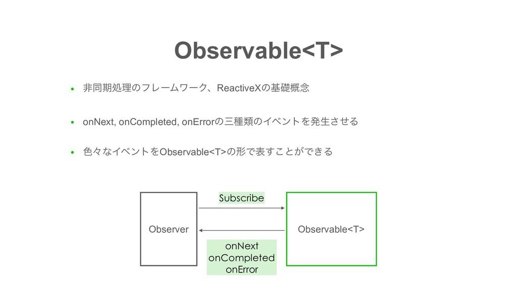 Observable<T> ● ඇಉظॲཧͷϑϨʔϜϫʔΫɺReactiveXͷجૅ֓೦ ● ...
