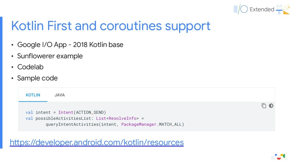 Kotlin First and coroutines support • Google I/...