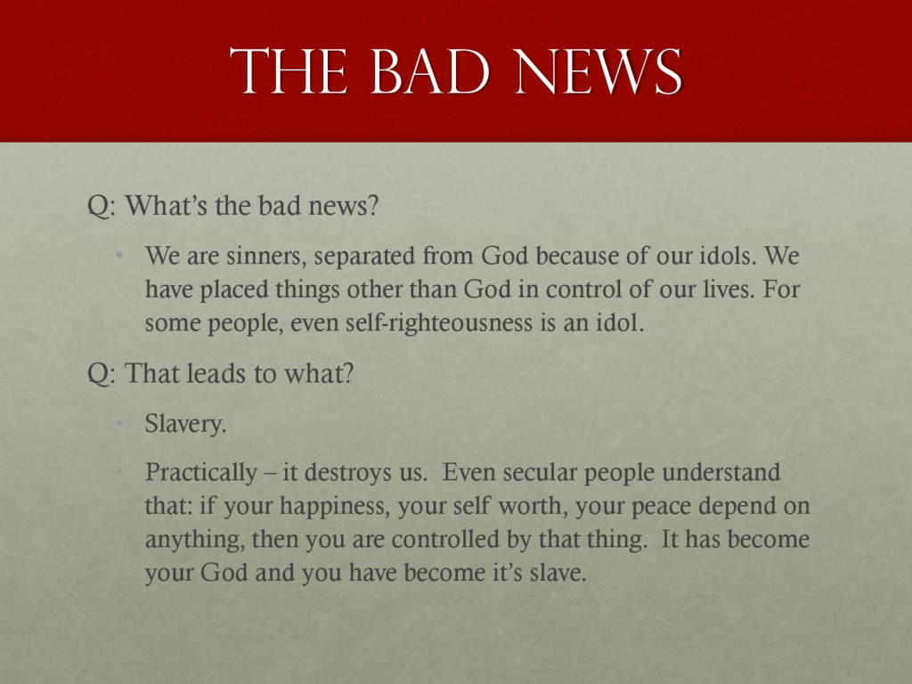 The Bad news Q: What's the bad news? • We are s...