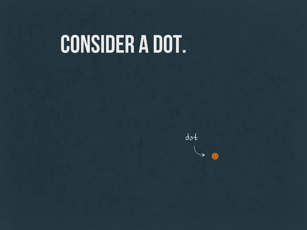 consider a dot. dot