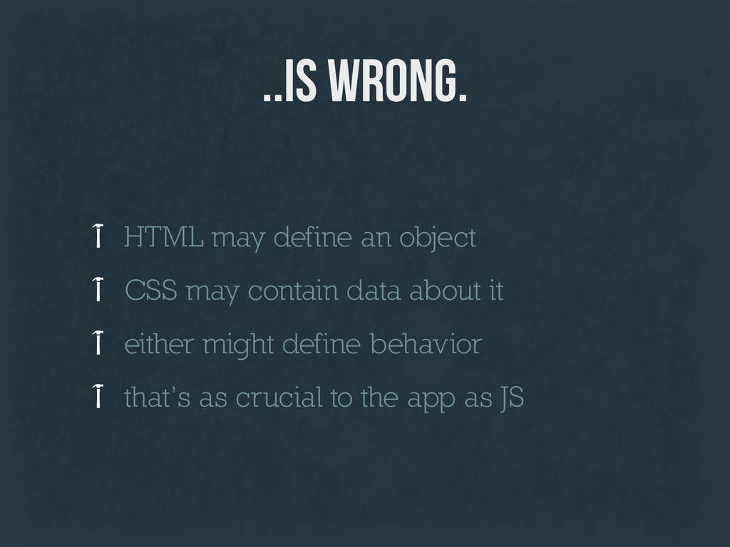 ..is wrong. HTML may define an object CSS may c...