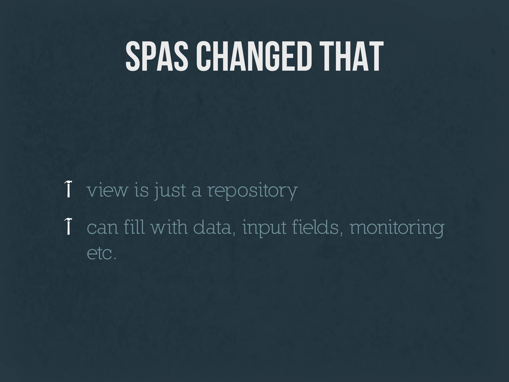 SPAs changed that view is just a repository can...