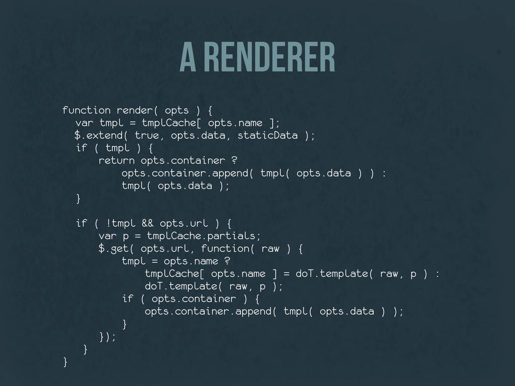 a renderer function render( opts ) { var tmpl =...