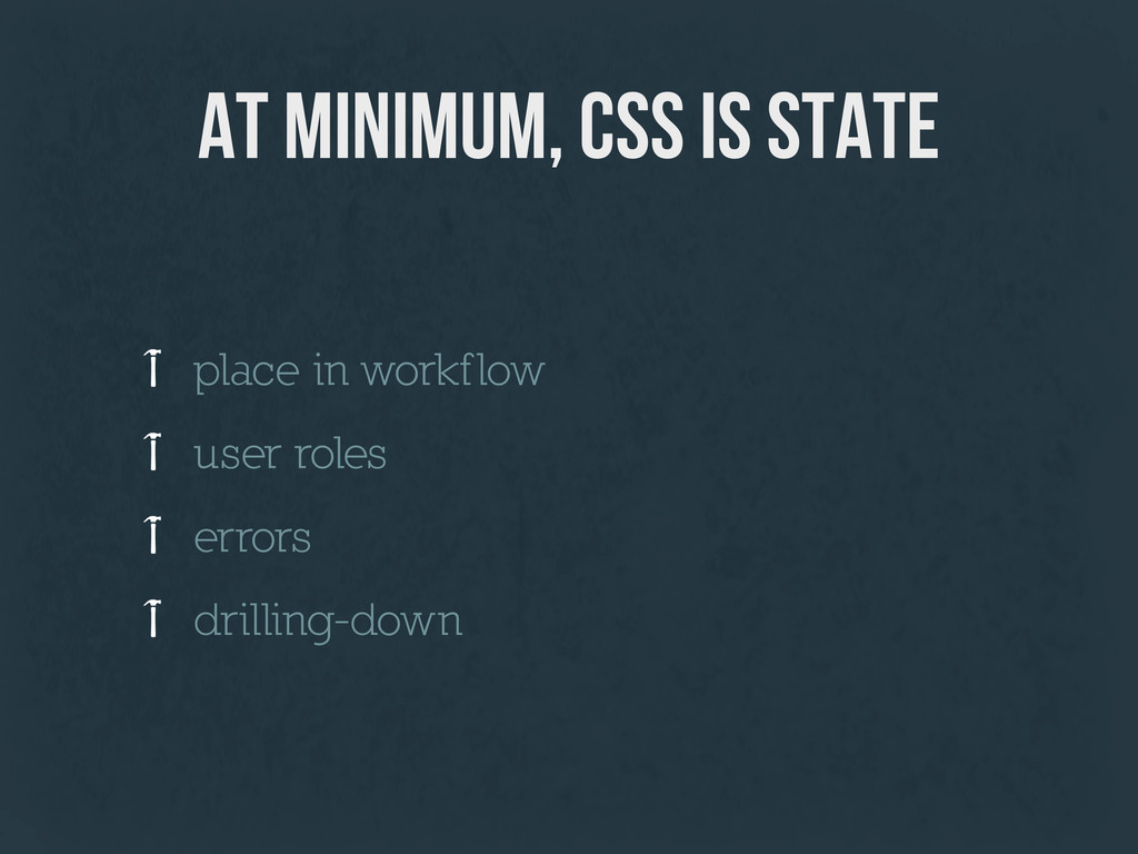 at minimum, css is state place in workflow user...